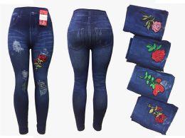 12 Bulk Womens Rose Leggings