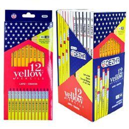 72 Bulk Pencils 12ct Yellow 6-12pc Pdq Display Peggable