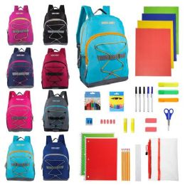 """12 Bulk 17"""" Sport Backpacks in 8 Assorted Colors with 52 Piece School Supply Kits - Bulk Case of 12"""
