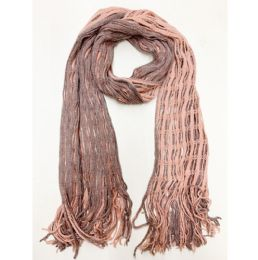 24 Bulk Women Double Winter Layer Scarf In Assorted Color