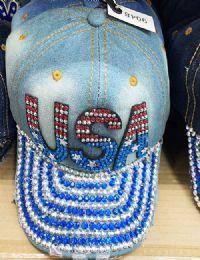 60 Bulk USA Bling Bling Lady Denim Ball Cap