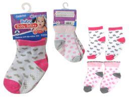 144 Bulk Baby Socks W/ Rubber Dots