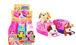 12 Bulk Mini Plush Pet In Carrier Puppy