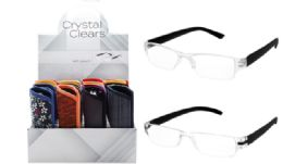 48 Bulk Crystal Clear Reading Glasses With Soft Pouch
