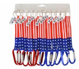 72 Bulk Lanyard Keychain USA Flag