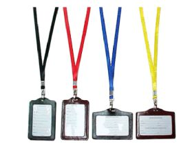 72 Bulk Lanyard With Faux Leather ID Holder