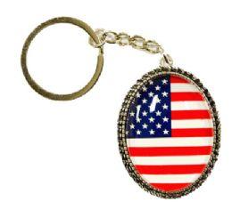 72 Bulk Oval Keychain USA Flag