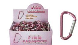 96 Bulk Pink Carabiner Keychain