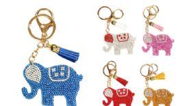 72 Bulk Rhinestone Keychain Elephant