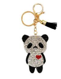 72 Bulk Rhinestone Keychain Panda