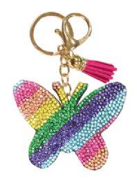 72 Bulk Rhinestone Keychain Rainbow Butterfly
