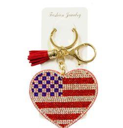 72 Bulk Rhinestone Keychain USA Heart