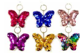 72 Bulk Sequin Keychain Butterfly