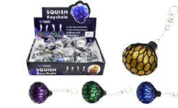 96 Bulk Squish Ball Keychain Glitter