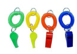 72 Bulk Wristband Keychain With Whistle