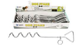 24 Bulk Dog Tie Out Chrome Steak 16 inch