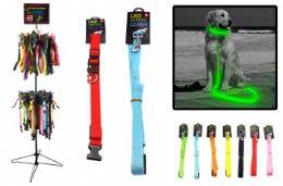 96 Bulk LED Lighting Dog Leashes And Collar Assorted Sizes Free Rack