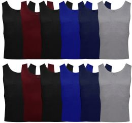 24 Bulk Yacht & Smith Mens Ribbed 100% Cotton Tank Top, Assorted Colors, Size S