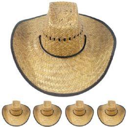 12 Bulk Lightweight Jute Wide Brim Straw Man Cowboy Hat