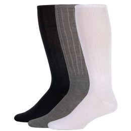 100 Bulk Men's Tube Socks- 3 Color Assortment