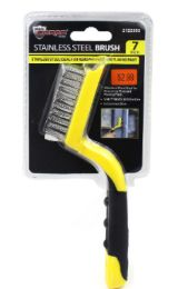 48 Bulk Stainless Steel Brush With Rubber Grip 7 Inch