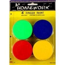 48 Bulk Finger Paints - Assorted Colors - 4 Pack