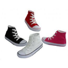 24 Bulk Children's Lace Up High Top Canvas Shoes
