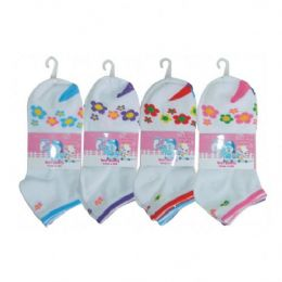 48 Bulk 3 Pair Girls Flower Ankle Socks Size 6-8 Assorted Colors