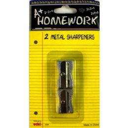 96 Bulk Sharpeners - Pencil - 2 Pack - All Metal - 1 Hole Ea. Silver In Color