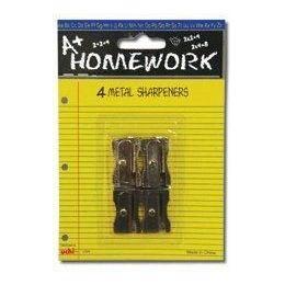 96 Bulk Sharpeners - Pencil - 4 Pack - All Metal - 1 Hole Ea.