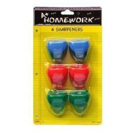 48 Bulk Sharpeners - Pencil - 6 Pk.- Heart Design - Asst. Cls.