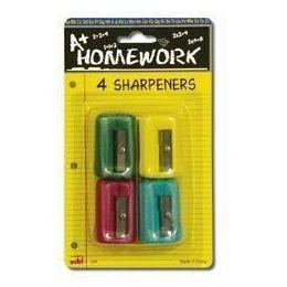 48 Bulk Sharpeners - Pencil - Rectangular - 4 Pack