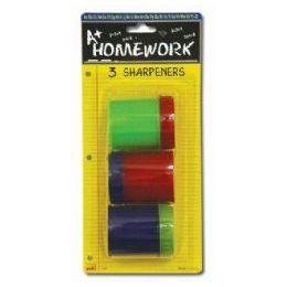 48 Bulk Sharpeners - Pencil - Round - 3 Pack