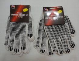 36 Bulk 2pr White Beaded Work Gloves