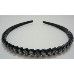 36 Bulk Black Plastic Headband With Silver Sparkle