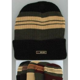 72 Bulk Heavy Duty Knit Cap With Multicolor StripeS-Solid Fold