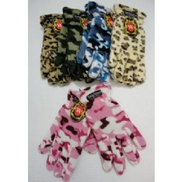 24 Bulk Ladies Camo & Animal Print Fleece Gloves