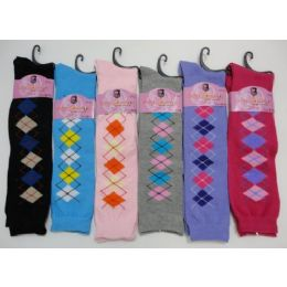 12 Bulk Ladies KneE-High Argyle Socks 9-11