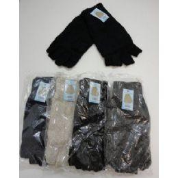 144 Bulk Men's Thermal Insulate Fingerless GloveS--Solid Color