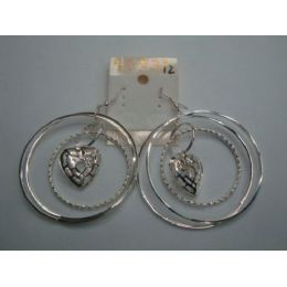 72 Bulk EarringS-3 Hoop With Heart Charm