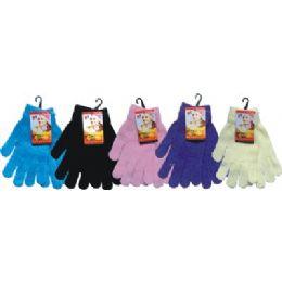 48 Bulk Ladies Chenille Glove Asst Colors
