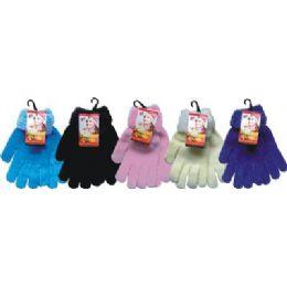 48 Bulk Ladies Chenille Glove Asst Colors With Fur Cuff
