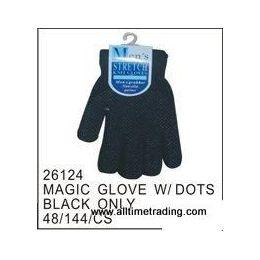 72 Bulk Black Magic Glove With Rubber Dots