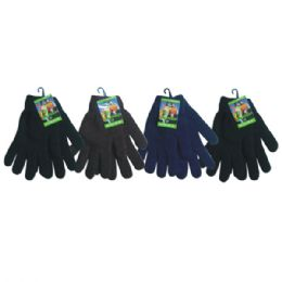 36 Bulk Mens Knit Glove Heavy Duty Assorted Dark Colors