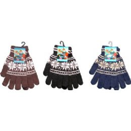 144 Bulk Snow Flake Print Magic Glove