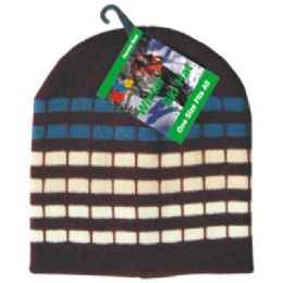 144 Bulk Winter Dot Stripe Hat