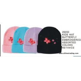144 Bulk Kids Hat With Butterfly Embroidery