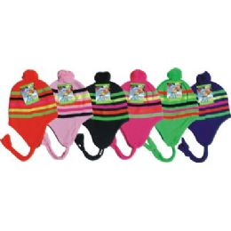 96 Bulk Neon Craze Striped Fleece Winter Hat