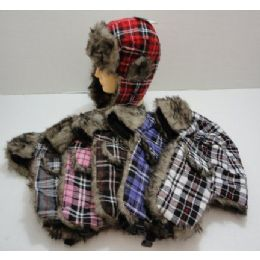 72 Bulk Bomber Hat With Fur LininG--Plaid