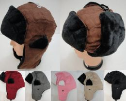 12 Bulk Aviator Hat With Fur TriM--Suede